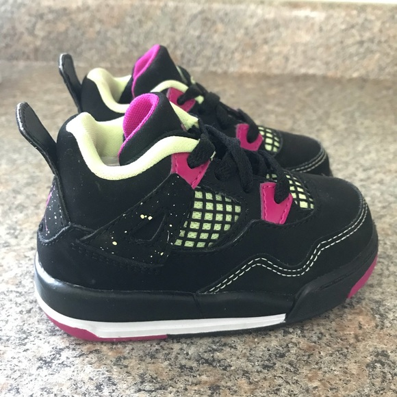 Baby Air Jordan 4 Black   Purple   Neon Size 5C 7e1ad0234